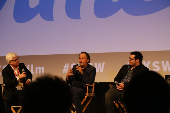 "Billy Crystal and Josh Gad at  post-screening Q&A for ""The Comedians"" at SXSW 2015"